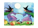 Dancing Witches Halloween Moon Photographic Print by sylvia pimental