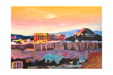 Athens Greece Acropolis At Sunset Giclée-tryk af Markus Bleichner