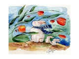 Windy Bunny & Tulips Poster by sylvia pimental