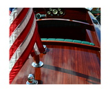 Chris Craft with Flag and Steering Wheel Photographic Print by Michelle Calkins