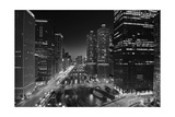 Chicago River Lights BW Photographic Print by Steve Gadomski