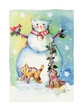 Cat Snowman Photographic Print by sylvia pimental