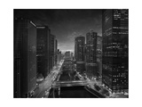 Chicago River Sunset BW Photographic Print by Steve Gadomski