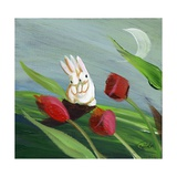 Little Bunny Rabbits in the Tulips Photographic Print by sylvia pimental