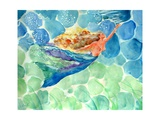 Golden Hair Blue Swimming Mermaid Photographic Print by sylvia pimental
