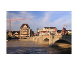 Rhine River, high water, in Basel Photographic Print by Ronald A Dahlquist