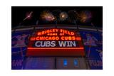 Chicago Cubs Win Fireworks Night Fotografisk trykk av Steve Gadomski