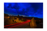 Nighttime Desert Road Trip Photographic Print by Steve Gadomski