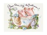 Please Don't Hog The Bathroom Pigs Photographic Print by sylvia pimental