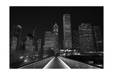 Chicago Lights BW Photographic Print by Steve Gadomski