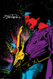 Jimi Hendrix- Neon Burst Posters