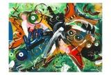 Poissons musiciens Poster par Pierre David