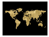 World Map Golden Black Art by Amy Brinkman