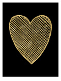 Heart Crosshatched Golden Black Prints by Amy Brinkman