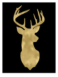 Deer Head Right Face Golden Black Art by Amy Brinkman