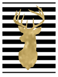 Deer Head Left Face Black White Stripe Posters by Amy Brinkman