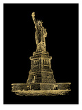 Statue of Liberty Golden black Print by Amy Brinkman