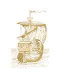 Ship 1 Golden White Poster by Amy Brinkman