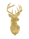 Deer Head Right Face Golden White Prints by Amy Brinkman