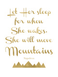 Let Her Sleep Mountains Golden White Prints by Amy Brinkman