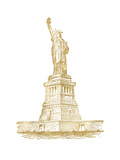 Statue of Liberty Golden white Posters by Amy Brinkman