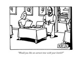 """Would you like an earnest tone with your lentils"" - New Yorker Cartoon Premium Giclee Print by Bruce Eric Kaplan"
