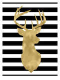 Deer Head Right Face Black White Stripe Prints by Amy Brinkman