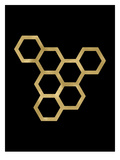 Honeycomb Modern Golden Black Prints by Amy Brinkman
