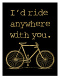 Bicycle I'd Ride Anywhere Golden Black Print by Amy Brinkman