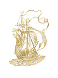 Ship 2 Golden White Prints by Amy Brinkman