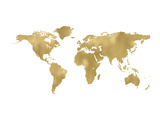 World Map Golden White Art by Amy Brinkman