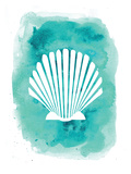 Aqua Watercolor Background Scallop Shell Poster by  Jetty Printables