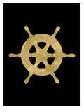 Ship Wheel Golden Black Posters by Amy Brinkman