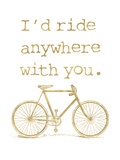 Bicycle I'd Ride Anywhere Golden White Poster di Amy Brinkman