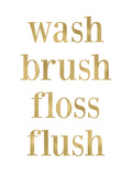 Wash Brush Floss Golden White Print by Amy Brinkman