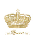 Crown Queen Golden White Print by Amy Brinkman
