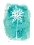 Watercolor Aqua B Palm Poster av  Jetty Printables