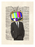 Television Head Print by Matt Dinniman