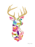 Floral And Gold Deer Poster by Penny Jane