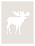 Beige White Moose Posters by  Jetty Printables