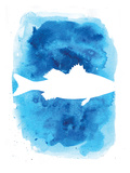 Watercolor Blue Sea Bass Posters by  Jetty Printables
