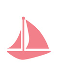 Coral Sailboat Poster by  Jetty Printables