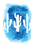 Watercolor Blue Cactus Print by  Jetty Printables