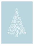 Blue White Snowflake Tree Prints by  Jetty Printables