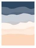 Navy Peach Abstract Poster by  Jetty Printables