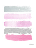 Paint Strokes Radiant Orchid And Silver Prints by Penny Jane