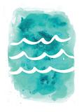 Watercolor Aqua Waves Posters av  Jetty Printables