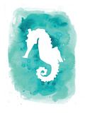 Watercolor Aqua B Seahorse Posters by  Jetty Printables