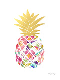 Watercolor Floral And Gold Pineapple Posters par Penny Jane