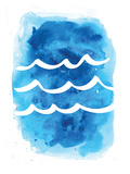 Watercolor Blue Waves Posters by  Jetty Printables
